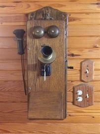 Antique Kellogg Oak Wall Phone
