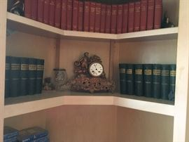 Antique book collection, and Antique French Mantle clock