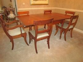 Cherry gate leg drop leaf dining table with pads, 1 armchair and 5 side chairs