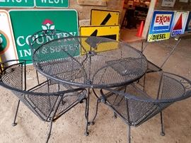 black patio set, table, 3 chairs ,2 small tables