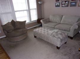 Sofa/Couch with round chair and ottoman