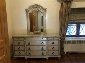 LAURA ASHLEY DRESSER AND MIRROR- COMPONENTS OF BEDROOM SUITE