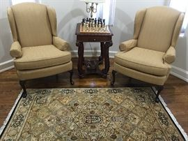 PAIR OF UPHOLSTERED WING CHAIRS, EXCELLENT CONDITION BY: HUNTINGTON HOUSE.