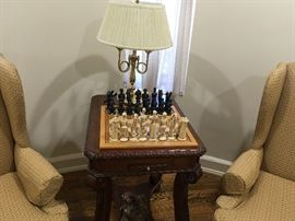 CHESS SET, ORNATE WOOD CARVED ACCENT/END TABLE