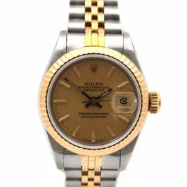 Rolex Oyster Perpetual Datejust 18K Yellow Gold Stainless Steel Wristwatch: A Rolex Oyster Perpetual Datejust Swiss made stainless steel and 18K yellow gold all original wristwatch. The watch has a champagne tapestry dial, an 18K yellow gold fluted bezel and a two-tone jubilee bracelet.