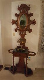 $175     Victorian walnut hall tree