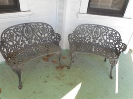 Very old, heavy, ornate, antique Cast Iron Benches in Good shape