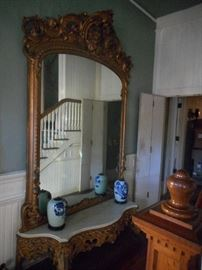HUGE mirror with marble console, original to the home, picture does not do it justice! 72 x 114