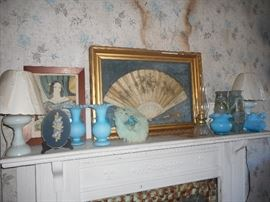 Early Fenton, Framed Fan, Antique lamp.