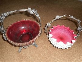 Cranberry and Pink Cased Hobnail Bride's Baskets.