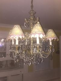 Second Beautiful Crystal Chandelier with Mackenzie Childs Shades