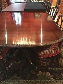 Carved Edge Table Double Pedestal Table
