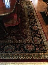 Indian Burgundy and Black Wool Rug, 10' x 13'4""