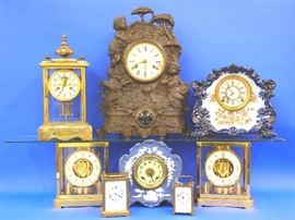 "Atmos clocks, Waterbury, Crystal Regulator,  Ansonia ""Rustic"",  Porcelain, and Carriage clocks"