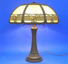Bradley and Hubbard bent panel lamp, signed