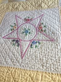 Vintage Hand embroidered, Hand quilted quilt.