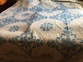 Vintage  Handembroidered, Handquilted Wholecloth Quilt