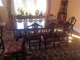 Carved Double Pedestal Mahogany Dining Table w/ 3 Leaves and 10 Matching Chairs -  (2 Arm 8 Side Chairs )
