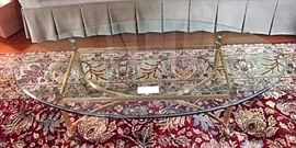Brass and Glass Oval Coffee Table ( Beveled Glass )