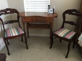 2 Antique Chairs $35each.  Vintage make-up or Dressing table in excellent condition $75
