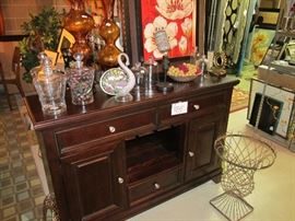 Beautiful buffet with wine rack