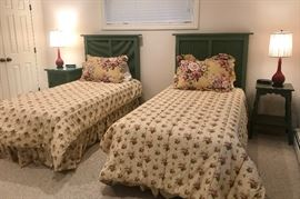 Twin Size Beds Tall Green Headboards