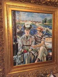 Renoir reproduction oil painting, in great condition, beautifully framed and vibrant colors.