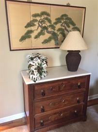 Three drawer marble top, late 1800's toggle pulls, marble is in beautiful condition
