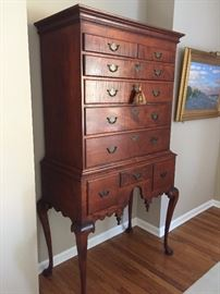 Queen Anne Highboy Flat top, 18th century reproduction made in Connecticut in pristine condition.