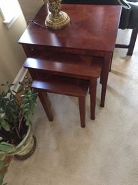 Set of diamond top nesting tables, great condition.