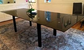 Modern Lux, unusual black glass, chrome and wood extension dining table