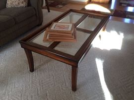Glass top coffee table and matching end tables