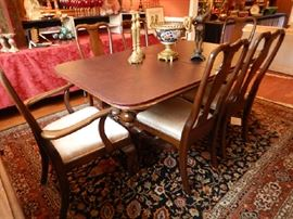DINING TABLE & CHAIRS, THIS RUG NOT FOR SALE