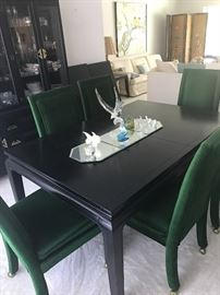ASIAN INSPIRED DR TABLE ( WITH EXTENSIONS) & 6 CHAIRS