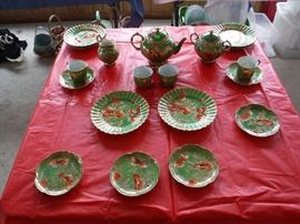 Older set of dessert service. There is no markings at the bottom and the creamer has repairs (that should be re-done in a better way seems to be with Elmer's Glue.) Priced at $55.