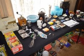 Small portable sewing machine, glass bowls, glass pitcher and glasses, Oriental jewelry box