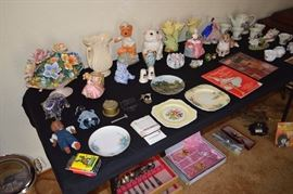 Plates, nic nacs, Copodimonte, vintage banks, flatware