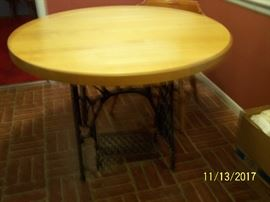 But her block table with antique stand $75