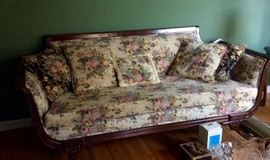 Duncan Phyfe sofa matching custom window treatments