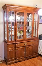 China Cabinet  with wine glasses, bar glasses and misc glassware.