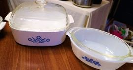 Corningware on the left and  Fire King on the right