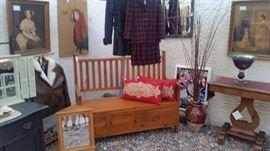 Entry Bench with 2 Drawers, 2 Red Pillow , Mirrors, Leather Womens Coats, Vintage Pendleton Jacket/Skirt set