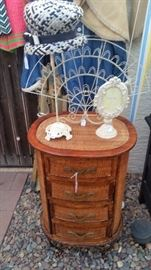 4 Drawer Cabinet, Cast Iron Hat Stand & Picture Frame, Vintage Hat, Photo/Card Fan Display