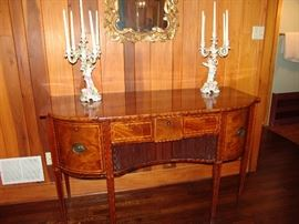 Beautiful inlaid mahogany sideboard with brass pulls and tapered legs