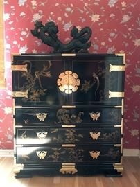 Black Lacquer Asian Chest