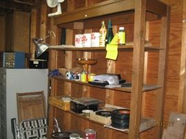large shelf unit, file cabinet, records and misc.