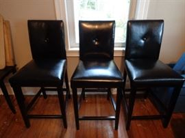 3 black bar height stools