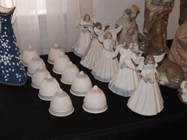 Lladro Christmas Bells Complete Decade. Lladro Orchestra Angels