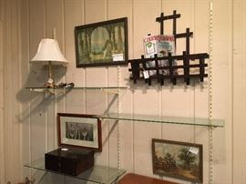 Victorian wall mount magazine rack, wooden box, pictures, lamp.