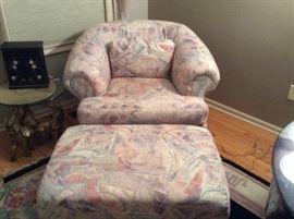 Pristine barrel chair and ottoman